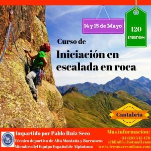 cartel curso de iniciación en escalada en roca